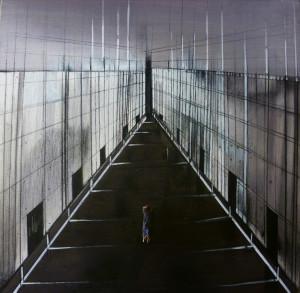 Cantiere in costruzione n1 - 2013 - tecnica mista su tela cm 30 x 30