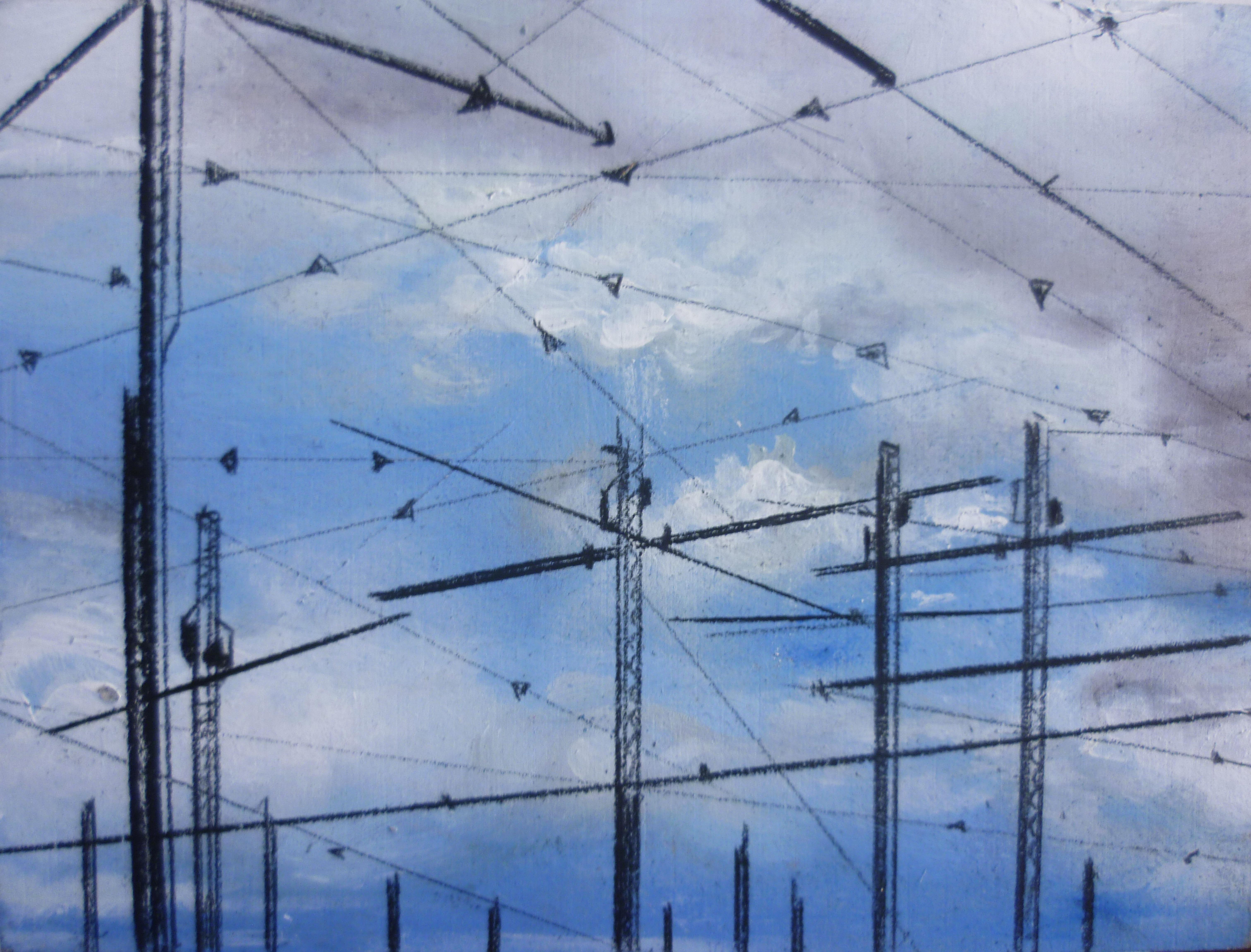 Antenne - olio e acrilico su tavola – cm 12 × 9- 2014
