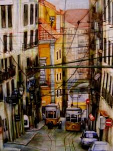 Lisbona di giorno tecnica mista su carta – cm 50 x 80 – 2005