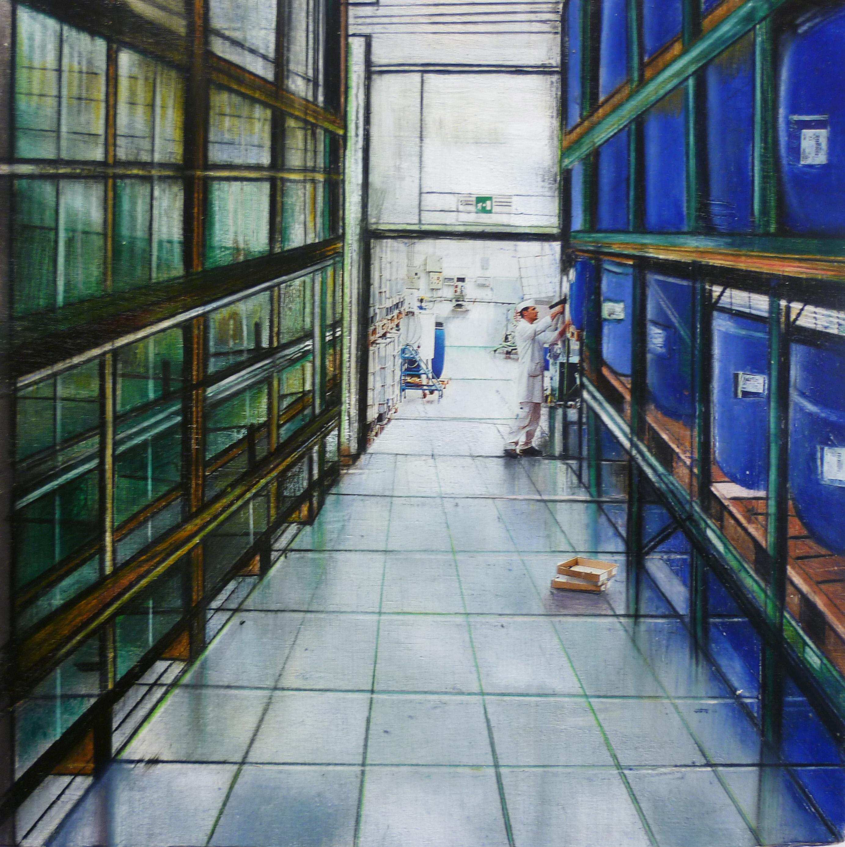Deposito merci - 2014 - tecnica mista su tavola cm 22,5 x22,5
