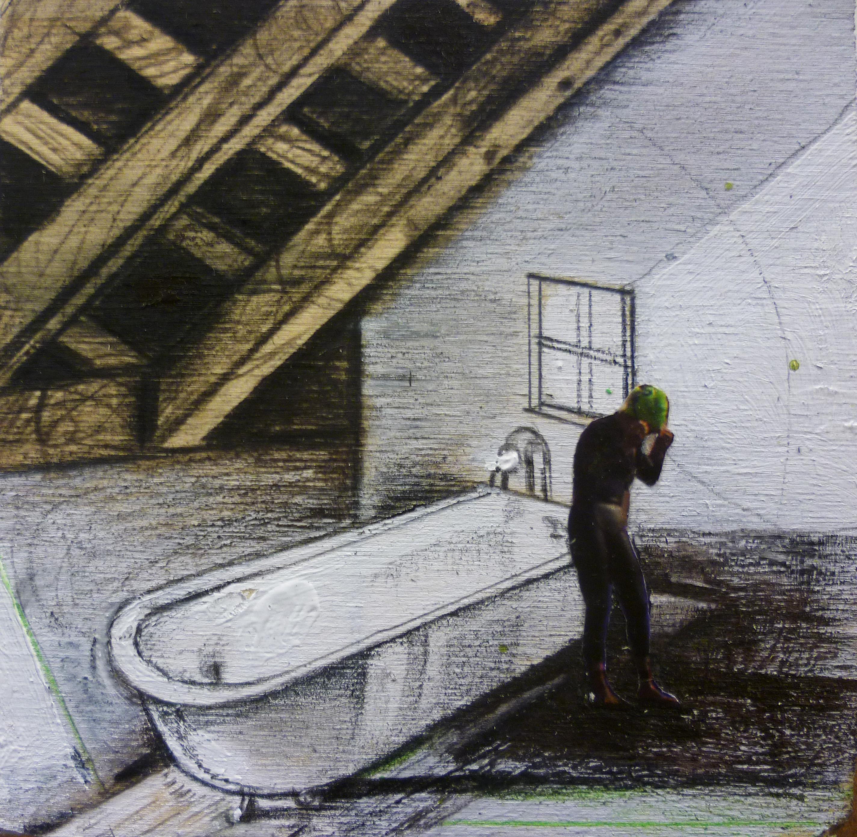 Il tuffatore 2 , tecnica mista su tavola,cm 30x30 - 2010