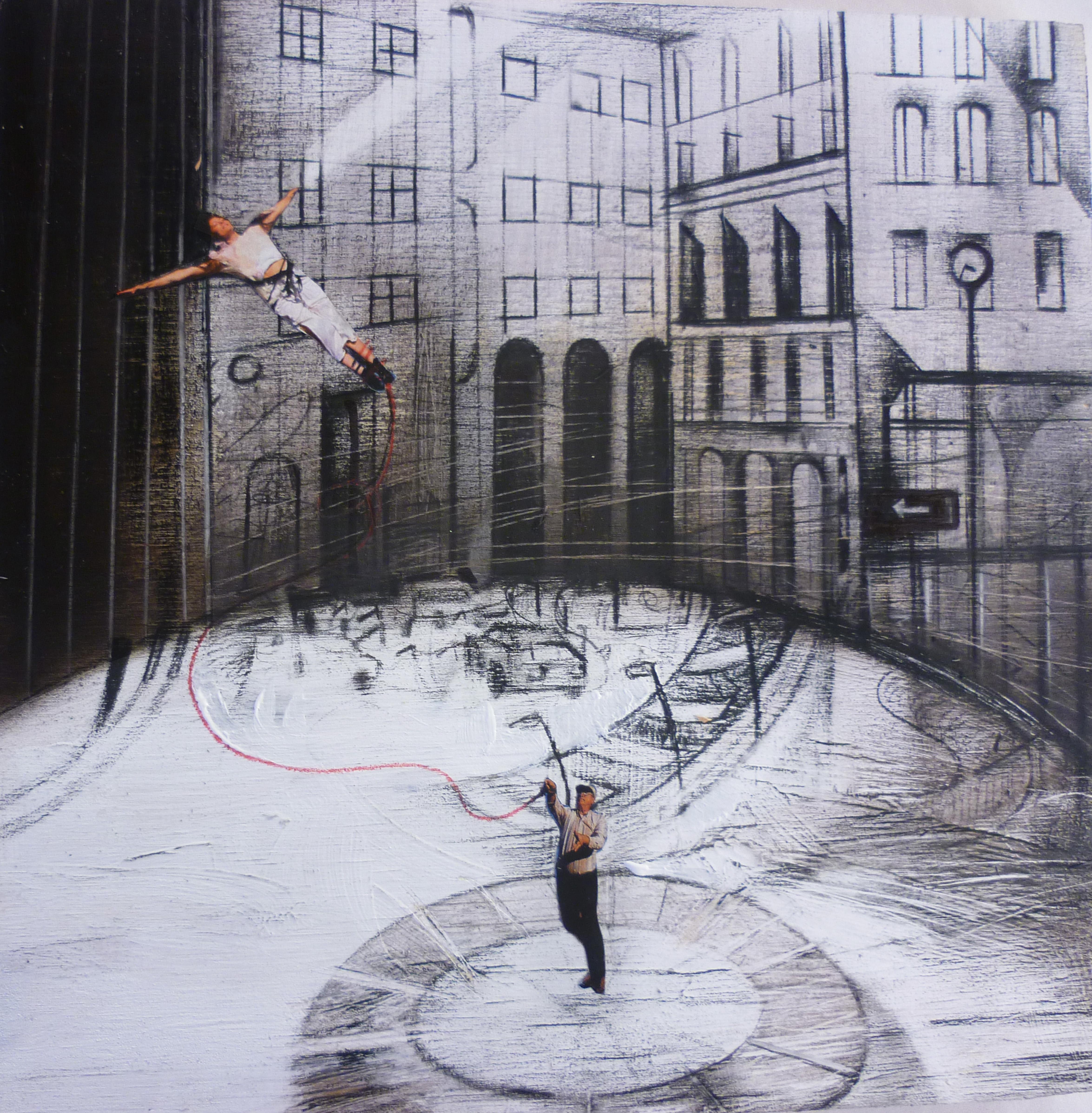 La donna volante - olio e acrilico su tavola – cm 20,5 x 20,5 – 2014
