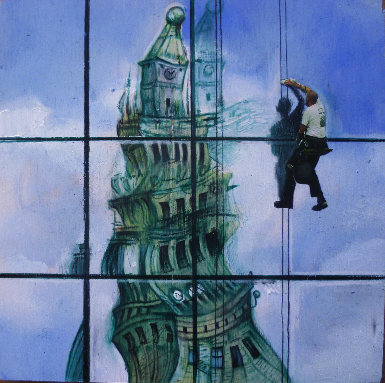 La torre dei sogni - tecnica mista su tavola – cm 20,5 x 20,5 – 2014