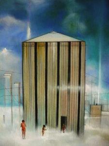 omini sull enuvole-tecnica-mista-su-tavola-cm-30x50-2013