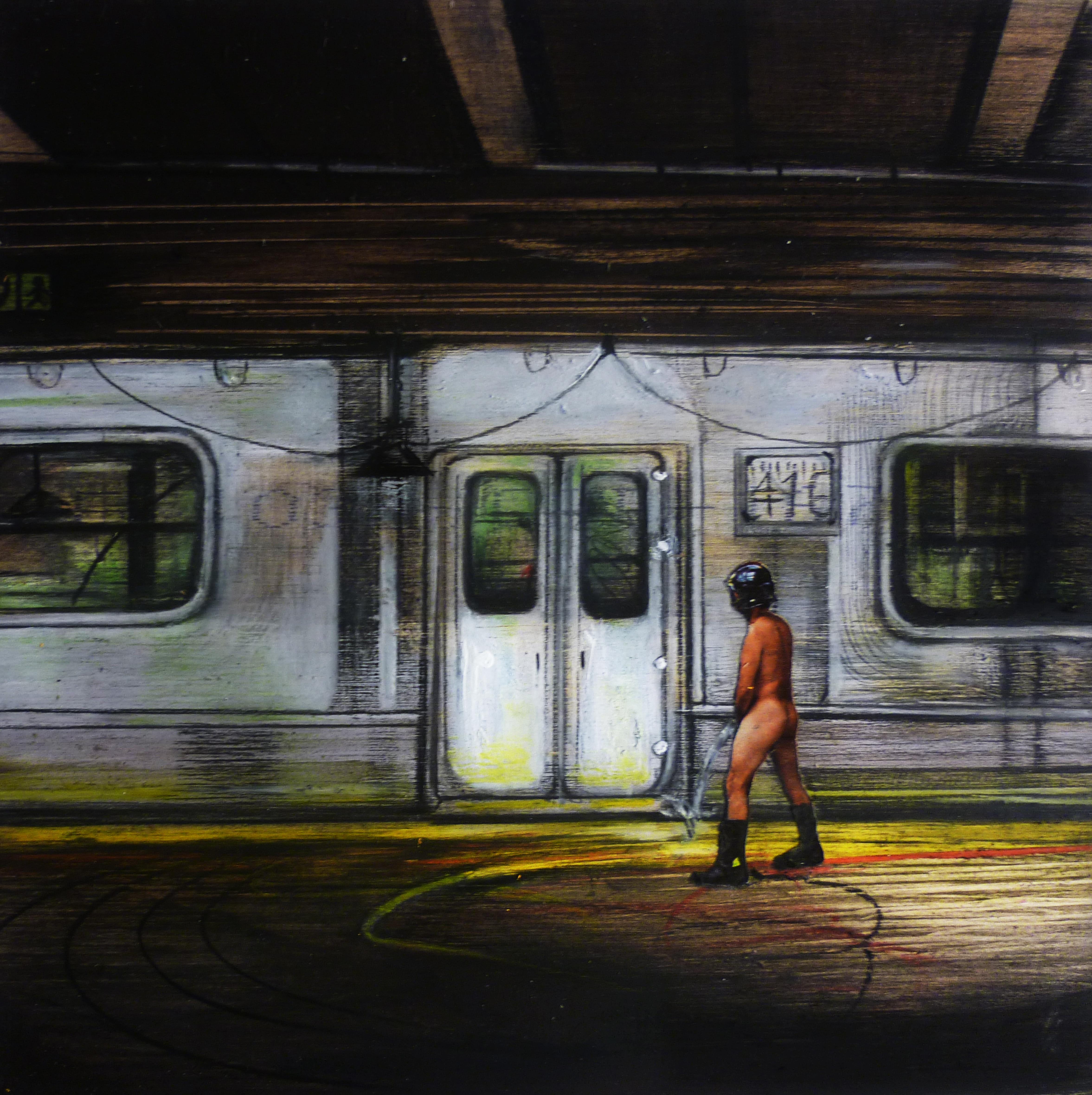 Metropolitana 1 - 2014 - olio e acrilico su tavola cm 18,5 × 18,5