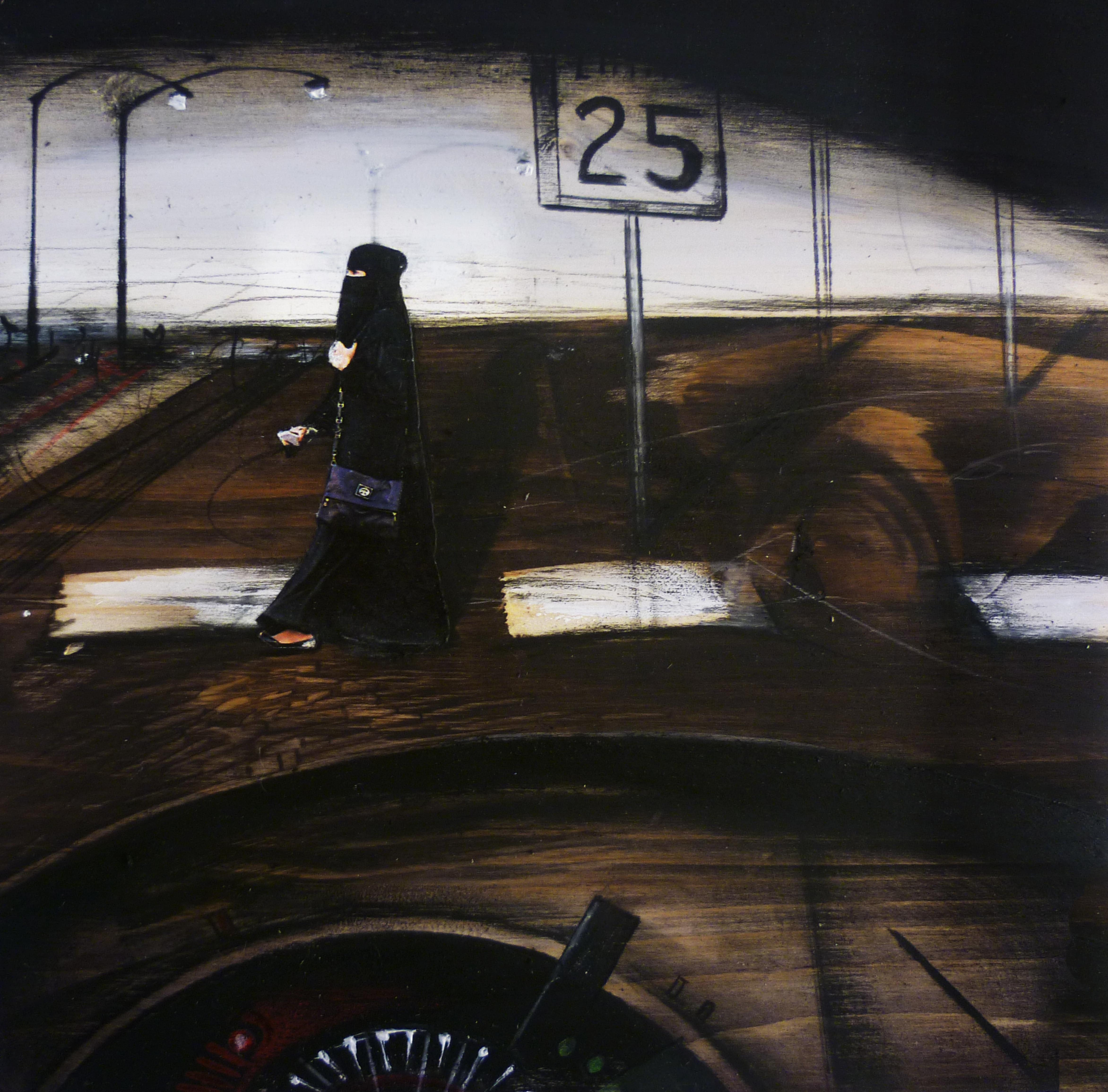 attraversamento n 25 - 2014 - olio e acrilico su tavola cm 18,5 × 18,5