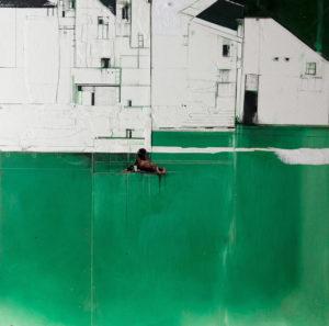 RITAGLI DI SPAZIO 1 - cartografia – tecnica mista su tela (carte applicate su tela, olio, ritagli giornale ) – cm 30×30