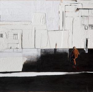 RITAGLI DI SPAZIO 2 cartografia – tecnica mista su tela (carte applicate su tela, olio, ritagli giornale ) – cm 30×30