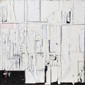 RITAGLI DI SPAZIO 4 cartografia – tecnica mista su tela (carte applicate su tela, olio, ritagli giornale ) – cm 30×30