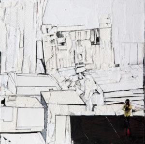 ritagli di spazio 5 - cartografia – tecnica mista su tela (carte applicate su tela, olio, ritagli giornale ) – cm 30×30