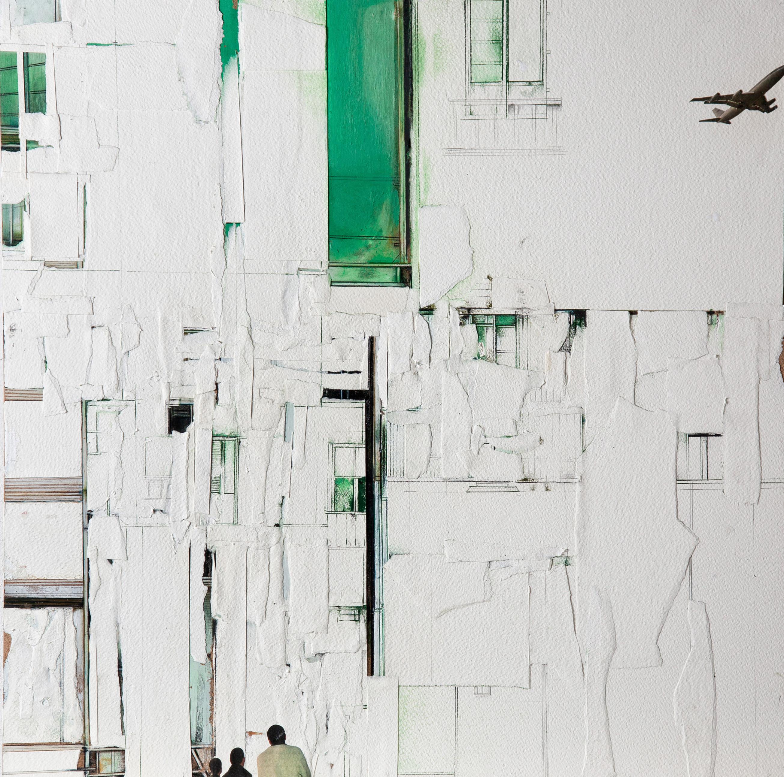 ritagli di spazio 6 - cartografia – tecnica mista su tela (carte applicate su tela, olio, ritagli giornale ) – cm 30×30