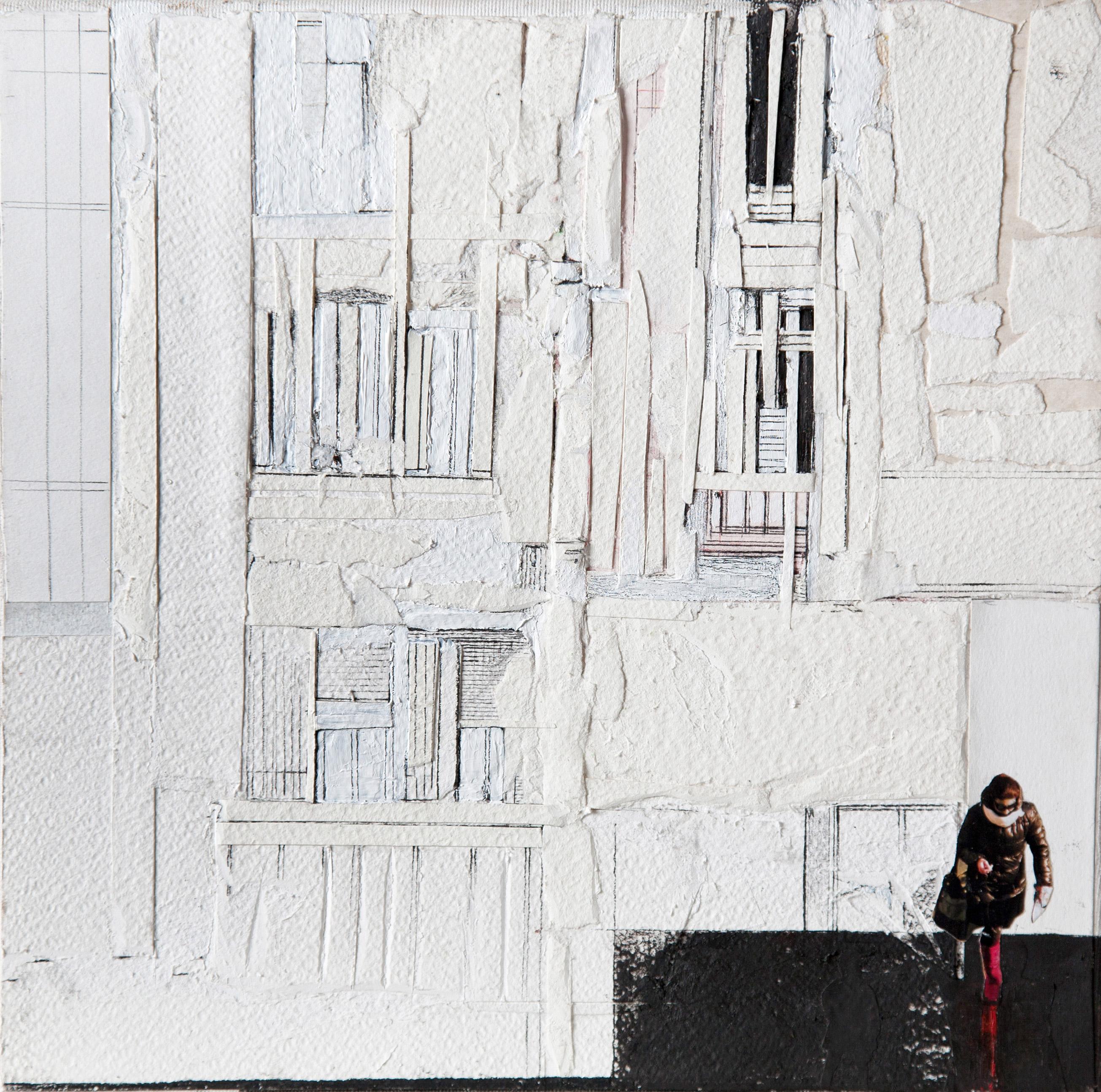 RITAGLI DI SPAZIO 7 - cartografia – tecnica mista su tela (carte applicate su tela, olio, ritagli giornale ) – cm 30×30