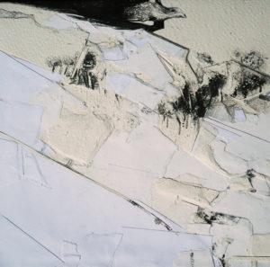 RITAGLI DI SPAZIO 8 cartografia – tecnica mista su tela (carte applicate su tela, olio, ritagli giornale ) – cm 30×30
