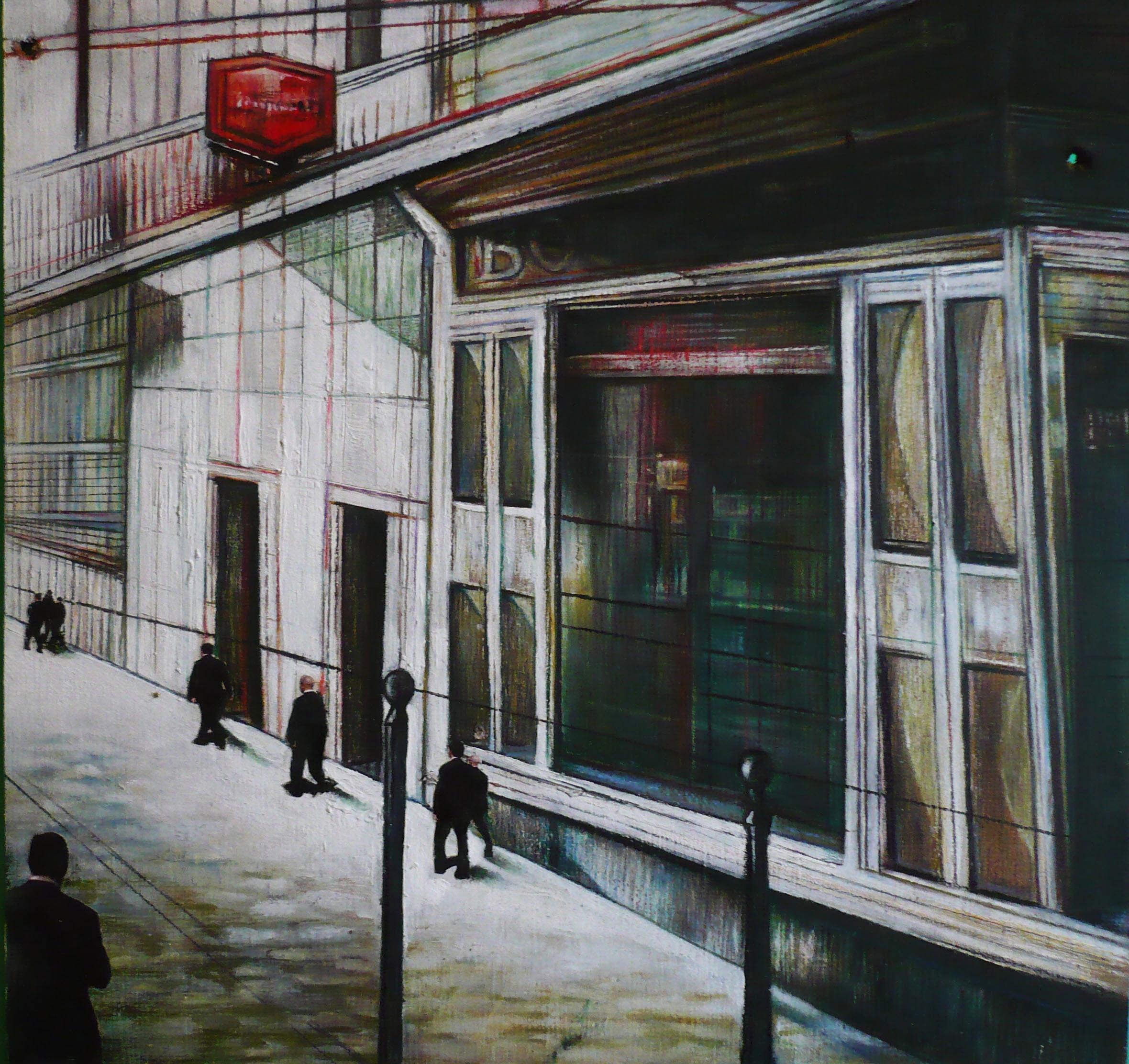 Omini in fila - 2010 - olio su tavola cm 30 x 30