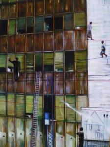 Tra le finestre tecnica mista su tavola – cm 30 x 40 – 2010