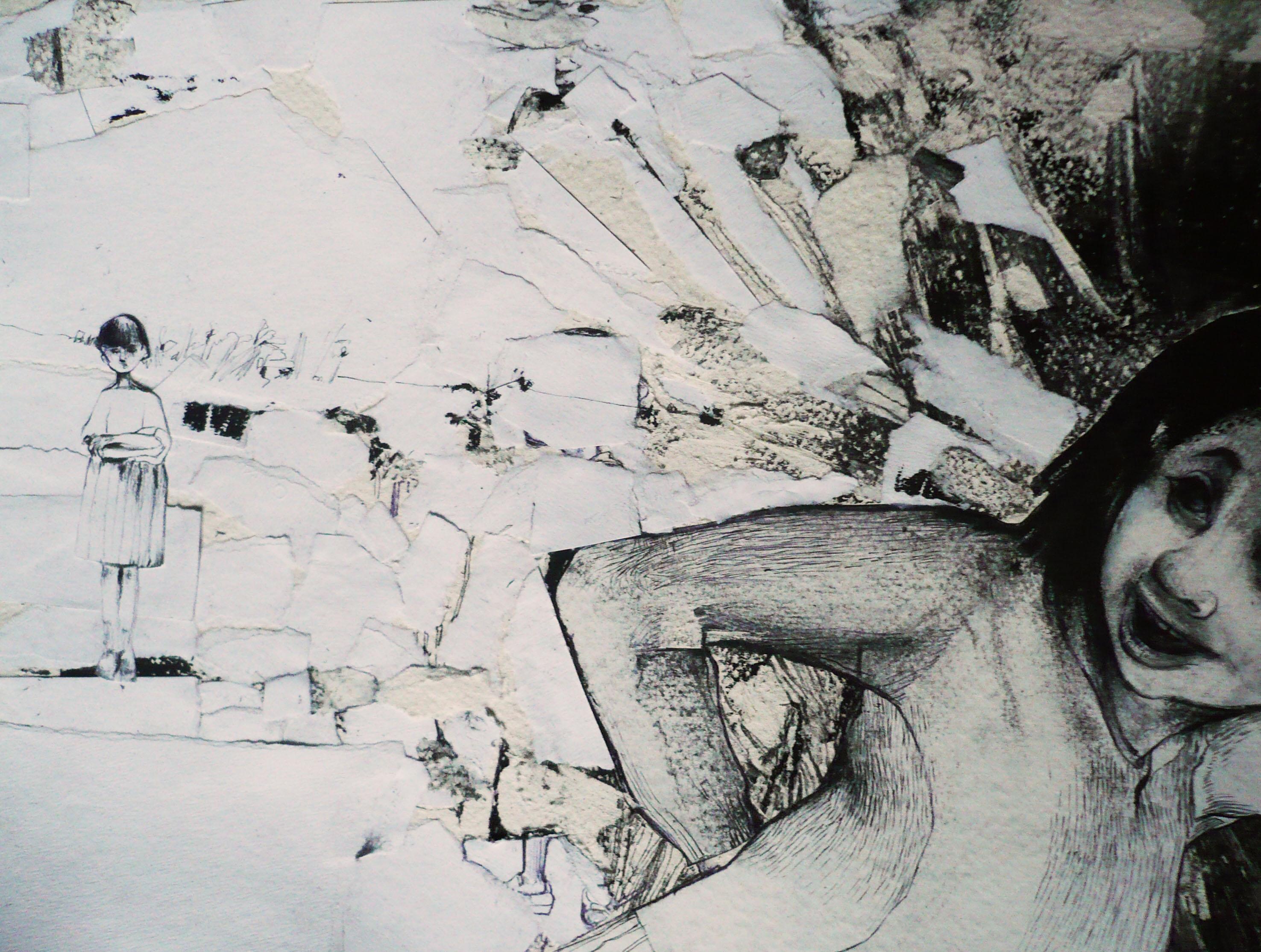 la fuga - 2011 - tecnica mista su carta - A4